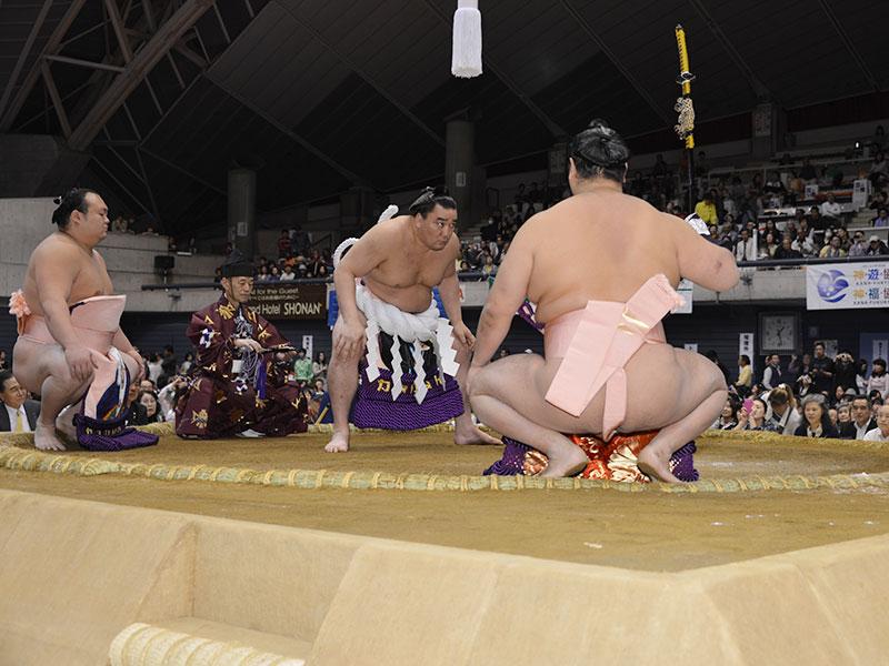日馬富士の土俵入り。